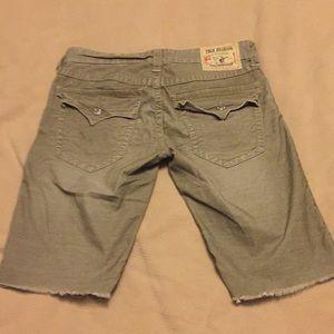 True Religion green cutoff shorts